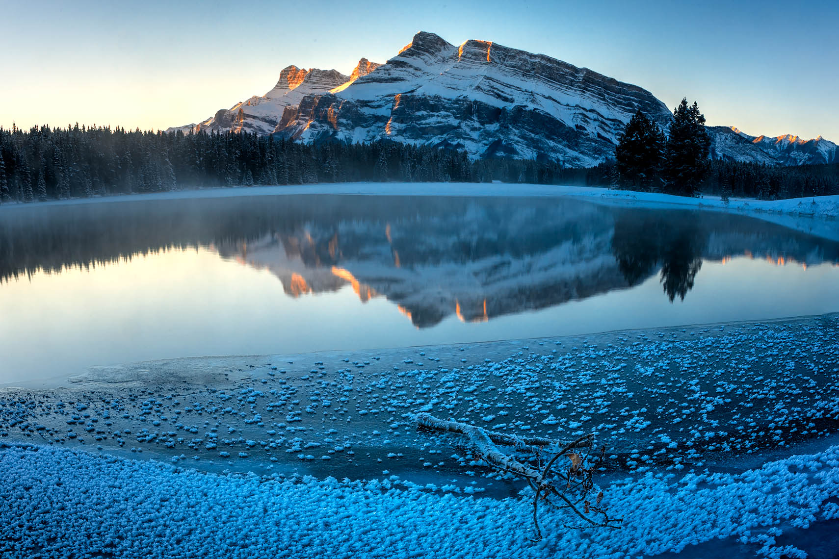 Mt Rundle from Two Jack Lake in Early Winter