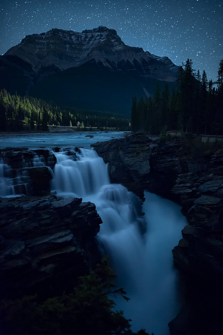 Athabasca Falls at Night Verticle